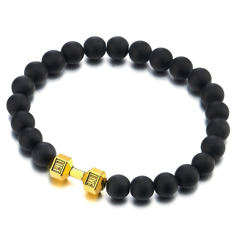 Mens Boys 8MM Black Onyx Bead Bracelet with Gold Color Barbell Dumbbell, Prayer Mala COOLSTEELANDBEYOND MB-905-CA