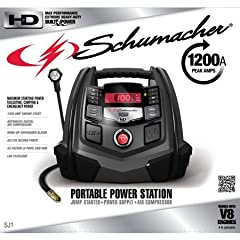 Going Camping this weekend? Take along the cordless Schumacher Multifunctional Portable Digital Power Station (SJ1). It is a portable electronic device battery charger, digital air compressor and jump starter all in one powerful, compact pack...