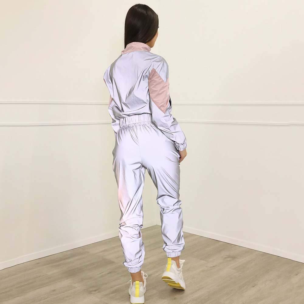 Giubbino Riflettente da Donna T-Shirt Riflettente da Donna Tuta Sportiva Riflettente per la Moda Rock