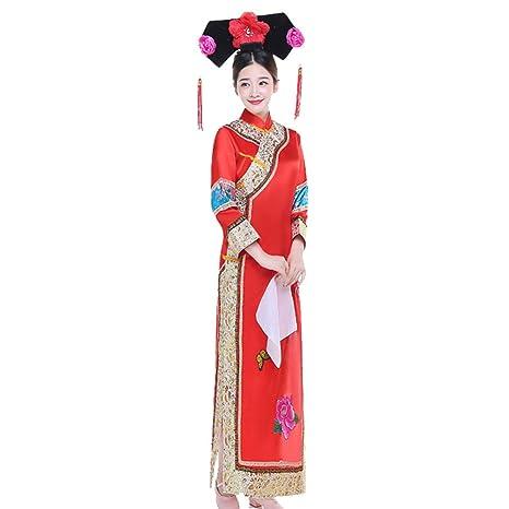 DAZISEN Traje de Estilo Chino - Mujer Antiguo Chino Elegante ...