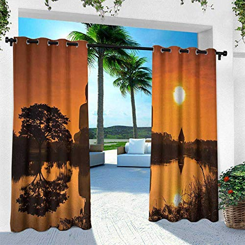 (Hengshu Asian, Patio Curtains,Big Giant Statue by The River at Sunset Thai Asian Culture Scene Yin Yang Print, W96 x L84 Inch, Burnt Orange)