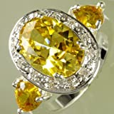 by lucky Size 7 8 9 10 11 Oval Cut Citrine & White Topaz Gemstone Silver Ring Fascinate (9)