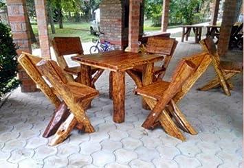 Gartenmöbel Set Holz Massiv ~ Amazon.de: casa padrino gartenmöbel set rustikal tisch 4 garten