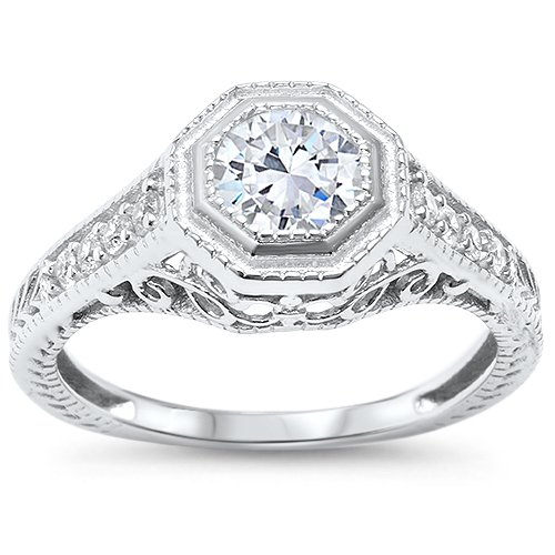 Oxford Diamond Co Sterling Silver Antique Reproduction Art Deco Bezel Set Round Cubic Zirconia Engagement Ring Sizes 8