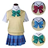 Lifeye Love Live Cosplay Costume Sweater Students School Uniform Sweater with Short Sleeve Shirt and 3 Bowknot