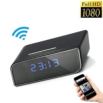 Cámara espía 1080P HD oculta con WIFI reloj de mesa TKSTAR WiFi Cámara espía despertador,