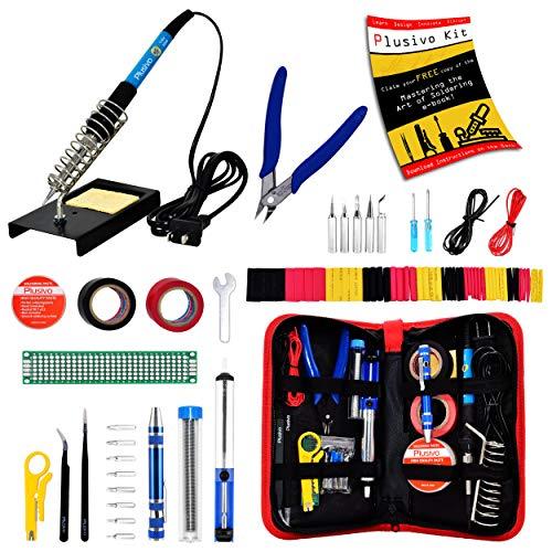 Soldering Iron Kit - Soldering Iron 60 W Adjustable Temperature, Diagonal Wire Cutter, Stand, Soldering Iron Tip Set, Desoldering Pump, Tweezers, Rosin, Bonus Heatshrinks - [110 V, US Plug]