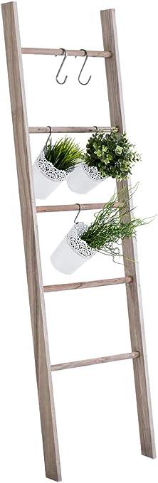 Escalera de Decoración Mariette I Escalera Decorativa de Madera con 5 Peldaños I Toallero en Estilo Rústico I Color:, Color:marrón Claro: Amazon.es: Hogar