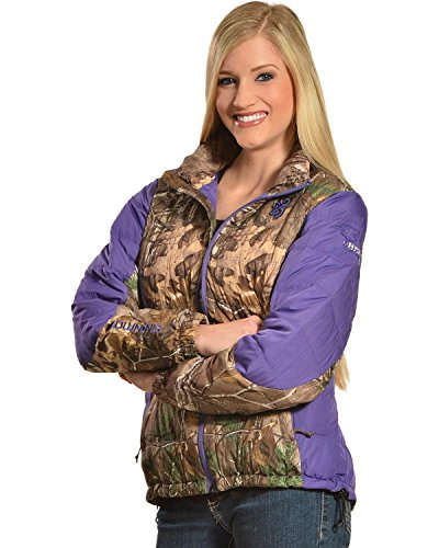 Browning Women's Hell's Belles Plum and Camo Blended Down Jacket Camouflage X-Large
