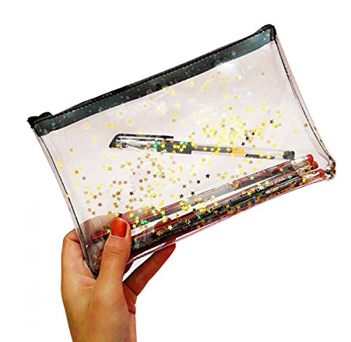 WODISON Zipper Clear Star Cosmetic Case Pouch Pencil Pen Bag Holder (Transparent Pouch)