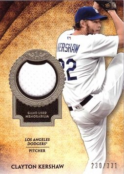 9aea8fc18 2017 Topps Tier One Relics  T1R-CK Clayton Kershaw Los Angeles Dodgers Game  Worn Jersey Baseball Card - Only 331 made!