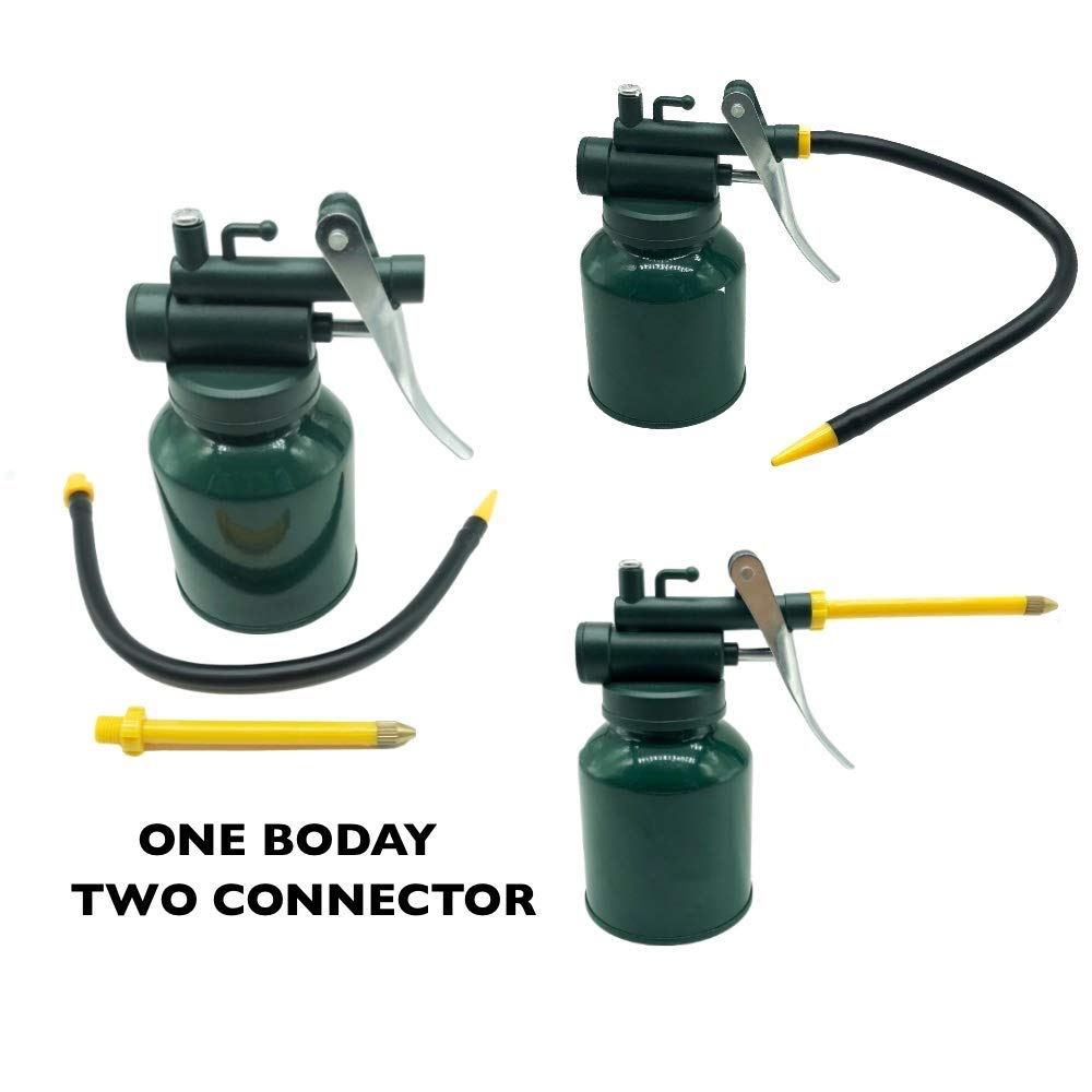 HEXIN Hand Pump Oiler Can, Green Metal Oiler Can with 3' Straight & 9' Flexible Spout, 8 oz Can Oiler Capacity Green Metal Oiler Can with 3 Straight & 9 Flexible Spout Junchi