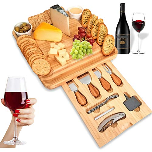 SUMPRI Bamboo Cheese Board Set -Charcuterie Board With Cutlery Set & Two Ceramic Bowls -Elegant Design Perfect Serving Tray For Entertaining Your Guest 【Bonus 2 Cheese Slates, 4 Forks & A Wine Opener】 (Best Wine And Cheese)