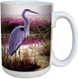 Great Blue Heron Coffee Mug - Large 15-Ounce Ceramic Cup, Full-Size Handle - Gift for Bird and Nature Lovers - Tree-Free Greetings 79095