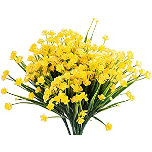 Foraineam 10 Bundles Yellow Daffodils Artificial Flowers Fake Plants Plastic Bushes Greenery Shrubs Fence Indoor Outdoor Hanging Planter Home Garden Decor 2