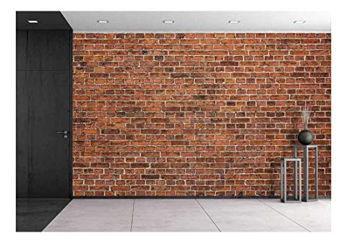 wall26 - Grunge Red Brick Wall Background with Copy Space - Removable Wall Mural | Self-Adhesive Large Wallpaper - 100x144 - Wall Brick