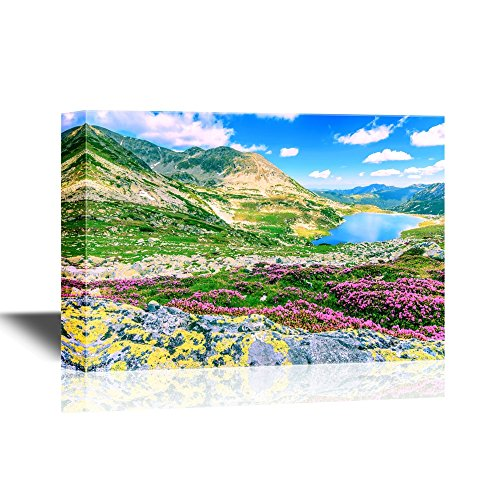 Beautiful Nature Landscape Scenery Glacier Lake High Mountains and Stunning Pink Flowers