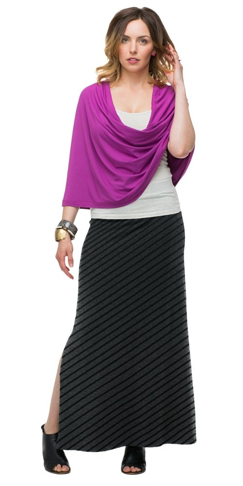 SUMMERSKIN Women's Sun Protection Maxi Skirt (L, Black/Heather Grey Stripe)