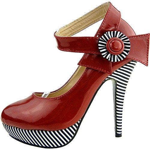 tobillo rojo plataforma raya flor Sexy LF30404 correa de bombas Mostrar historia estilete zapatos RtOx7wvSq