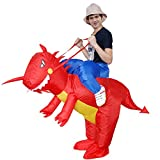 Inflatable Rider Costume Riding Me Fancy Dress Funny Dinosaur Unicorn Funny Suit Mount Kids Adult (Child(90-140CM), Red)