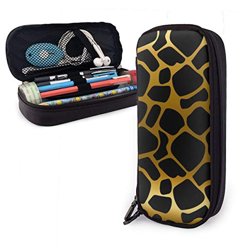(Gold Black Giraffe Skin Texture Students Big Capacity Leather Pencil Case Pen Pouch Stationery Craft Supplies for School Work Office)