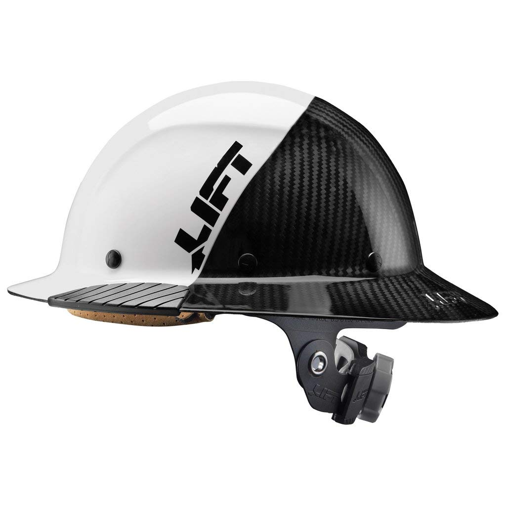 Lift Safety DAX Fifty 50 Carbon Fiber Full Brim Hardhat (White) by LIFT Safety