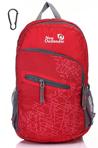 Outlander Packable Handy Lightweight Travel Hiking Backpack Daypack, Red