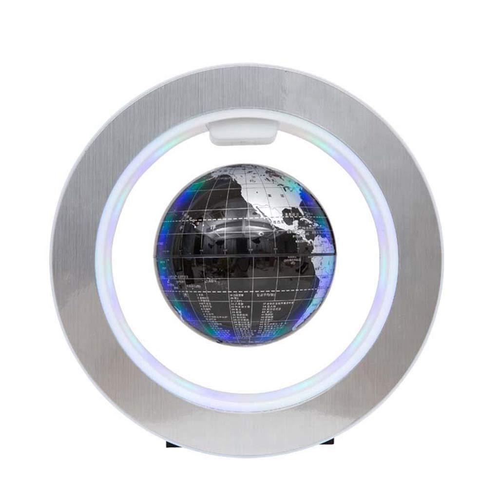 HUYYB Regalo Galleggiante LED, 6 Pollici 360 rossoante del Basamento di Mostra della Base ellittica del Regalo di novità dei Bambini di Natale del Globo di gravità,nero