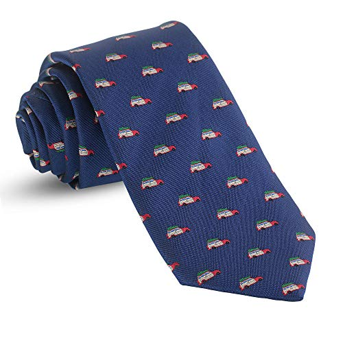(Christmas Ties For Men: Mens Woven Family Vacation Funny Necktie Navy Blue Holiday Twill Tie)