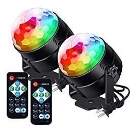 [Newest] Litake Party Lights Disco Ball Lights 6w LED Strobe Light, 7 Patterns Sound Activated with Remote Control Dj…
