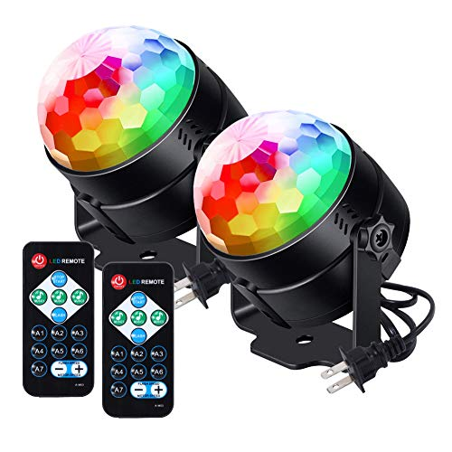 [Newest] Litake Party Lights Disco Ball Lights 6w LED Strobe Light, 7 Patterns Sound Activated with Remote Control Dj Lights Stage Light for Party Home Dance Karaoke Wedding Club Show-2 Pack