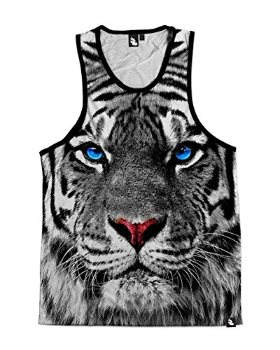 iHeartRaves White Tiger Premium All Over Print Tank Top (Medium)