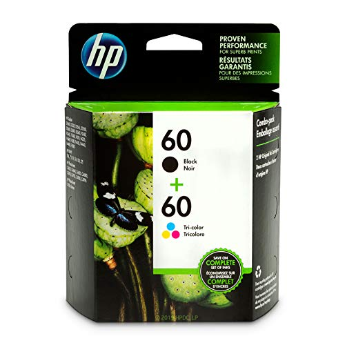 HP 60 Black & Tri-Color Ink Cartridges, 2 Cartridges (CC640WN, CC643WN) for HP Deskjet D2530 D2545 F2430 F4224 F4440 F4480 HP ENVY 100 110 111 114 120 HP Photosmart C4640 C4650 C4680 C4780 C4795 D110 (Hp Photosmart Printer Ink)