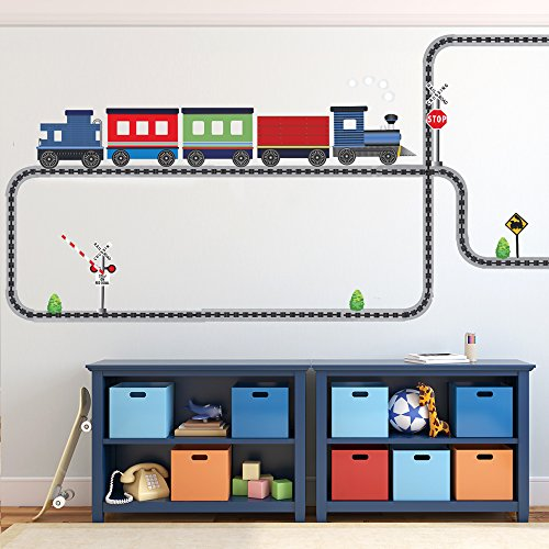 Blue Caboose Train with Straight and Curved Railroad Track Movable Mural Wall Decals (Repositionable) Peel and Stick!
