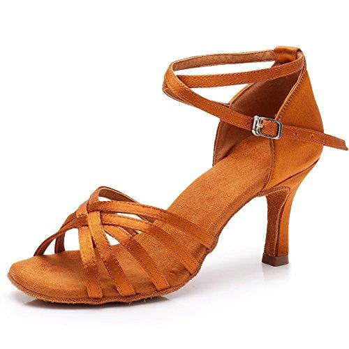 7cm lp213 Estándar Modelo Marrón tacón Baile De ballroom Swdzm latin Zapatos Mujer qXPH8P
