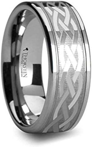 Jewel Tie Titanium 8mm Laser Design Brushed Wedding Band