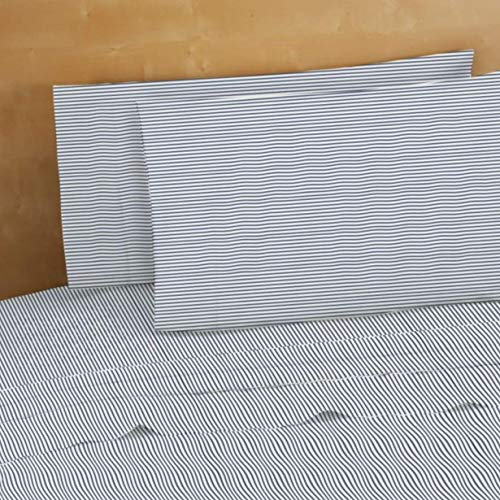 Bed Bath & Beyond 220 Thread-Count 100% Cotton King Pillowcases in Navy Stripes (Set of 2) ()