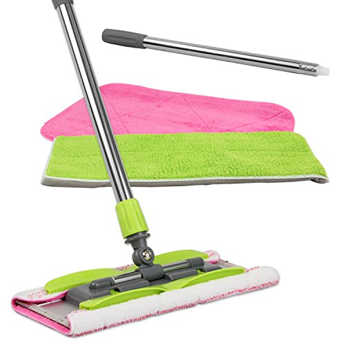 Microfiber Sponge Mop - LINKYO Microfiber Mop | Hardwood Floor Mop | 3 Flat Mop Pads and Stainless Steel Handle with Extension