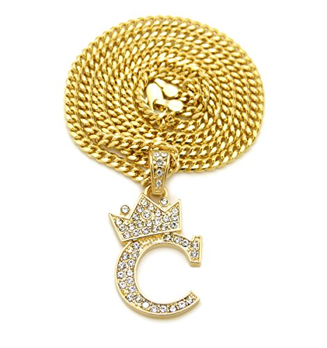 ve Crown Tilted Initial Alphabet Letter Pendant 3mm 24