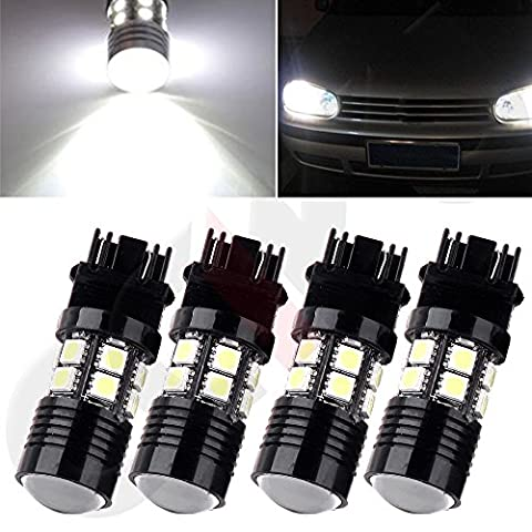 CCIYU 4 pcs 3157 White 6000K Cree+12 SMD Chip Projector LED Lights Bulbs for Tail Brake DRL Front and Rear Side Marker Light Fit 2014 Chevrolet (2002 Ford Focus Brake Light)