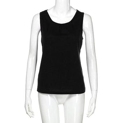 Mujeres Tops Rovinci Verano Cuello en O Moda Sin Mangas Camisetas sin Mangas Camiseta Blusa Casual