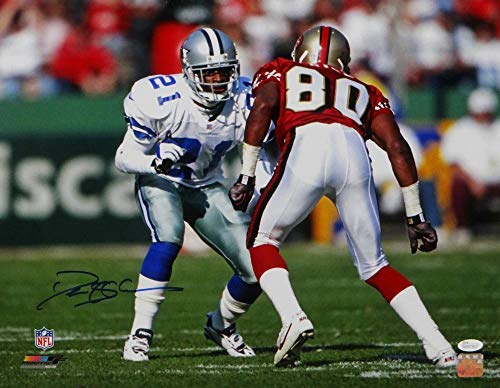 Deion Sanders Autographed Cowboys 16x20 Pf Photo Covering Rice- JSA Authentic