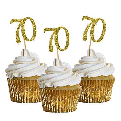 HOKPA Cupcake Toppers 70th Birthday, Golden Glitter Number 70, Cake Picks for Birthday Celebrating, Anniversary Party Decor (24PCS)