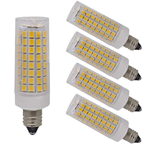 Ylaide E11 led Light Bulb 75W 10W Halogen Bulbs Equivalent, 1100lm, e11 Mini Candelabra Base 110V 120V 130V Input 60W 75W 100W Halogen Bulbs Replacement, Warm White 3000K Pack of 4 (Warm White 3000K)