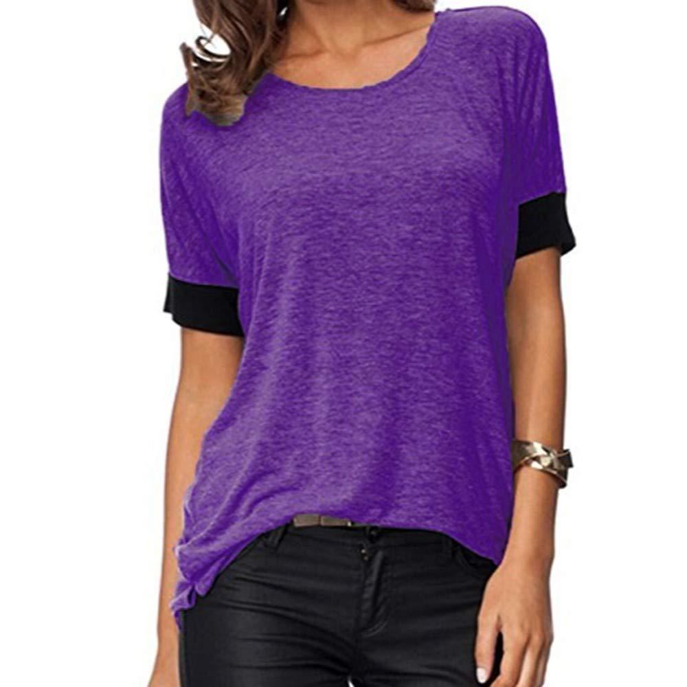 Fartido Tee,Ladies T-Shirt,Shirt for Women,Women's Summer Stitching Short-Sleeved Top Blouse Purple
