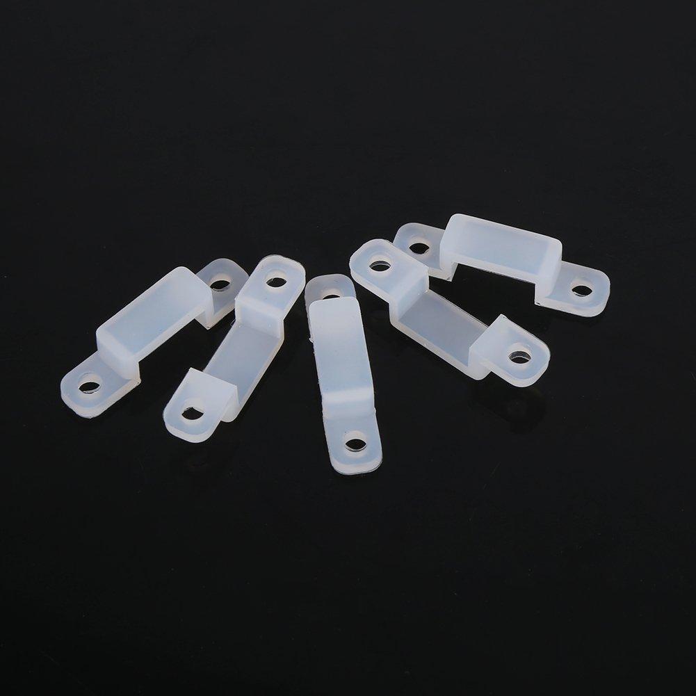 8mm 8//10//12mm Clip per supporto in silicone con involucro impermeabile in silicone flessibile per fissaggio 3528 5050 1210 RGB LED Light Strip Asixx Clip per strisce di luce a LED 100 pezzi