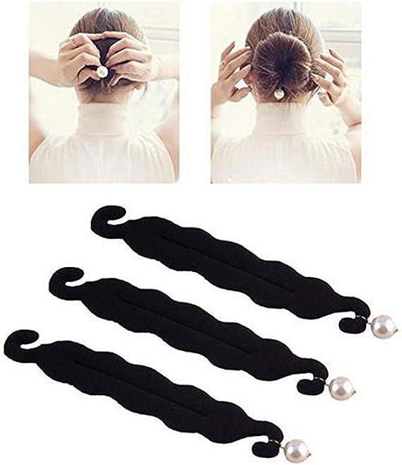 3 piezas de moño negro con perla – Soporte de pelo esponja clips ...