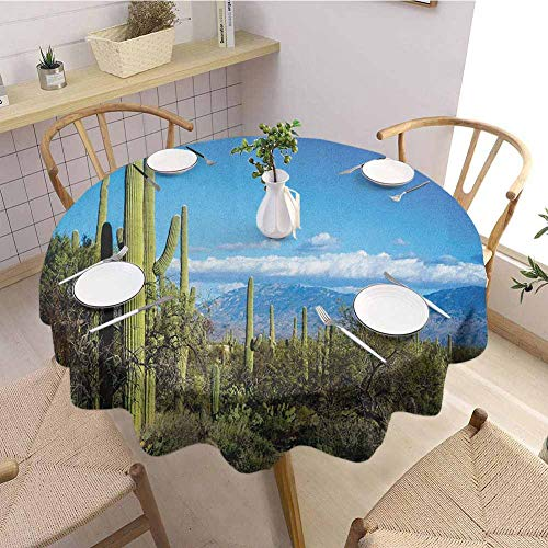 EMODFJCXZ Restaurant Round Tablecloth Desert Wide View of The Tucson Countryside with Cacti Rural Wild Landscape Arizona Phoenix Daily use D60 Green Blue (Best Mexican Restaurants In Tucson)