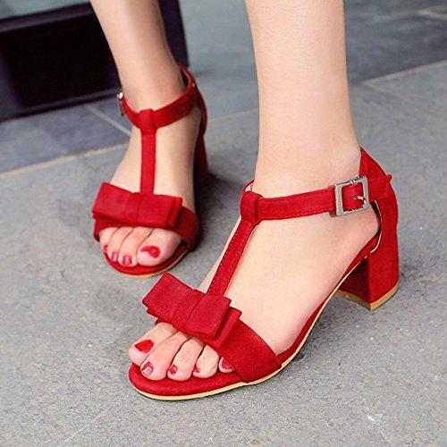 RAZAMAZA Mujer Clasico Correa En T Tacon Ancho Sandalias Chicas Colegio Tacon medio Zapatos with Bowknot Rojo