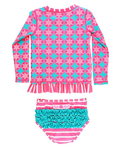 RuffleButts Infant/Toddler Girls Long Sleeve UPF 50+ Rash Guard Bikini Swimsuit Set